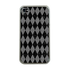 Diamond1 Black Marble & Gray Denim Apple Iphone 4 Case (clear) by trendistuff