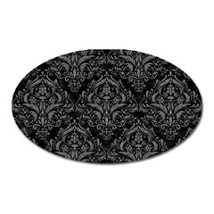 Damask1 Black Marble & Gray Denim (r) Oval Magnet by trendistuff