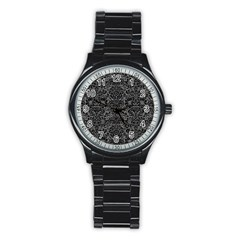 Damask2 Black Marble & Gray Denim Stainless Steel Round Watch by trendistuff
