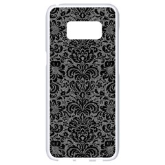 Damask2 Black Marble & Gray Denim Samsung Galaxy S8 White Seamless Case by trendistuff