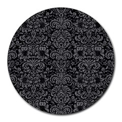 Damask2 Black Marble & Gray Denim (r) Round Mousepads by trendistuff