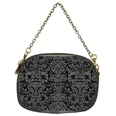 Damask2 Black Marble & Gray Denim (r) Chain Purses (two Sides)  by trendistuff