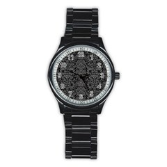 Damask2 Black Marble & Gray Denim (r) Stainless Steel Round Watch by trendistuff