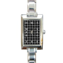 Houndstooth1 Black Marble & Gray Denim Rectangle Italian Charm Watch by trendistuff