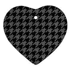 Houndstooth1 Black Marble & Gray Denim Ornament (heart) by trendistuff