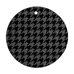 Houndstooth1 Black Marble & Gray Denim Round Ornament (two Sides) by trendistuff