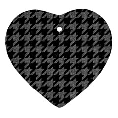 Houndstooth1 Black Marble & Gray Denim Heart Ornament (two Sides) by trendistuff