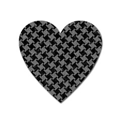 Houndstooth2 Black Marble & Gray Denim Heart Magnet by trendistuff