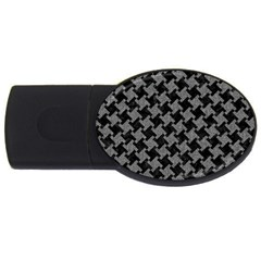 Houndstooth2 Black Marble & Gray Denim Usb Flash Drive Oval (2 Gb) by trendistuff
