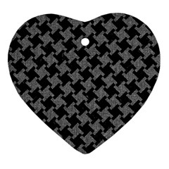 Houndstooth2 Black Marble & Gray Denim Heart Ornament (two Sides) by trendistuff