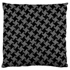 Houndstooth2 Black Marble & Gray Denim Large Flano Cushion Case (one Side) by trendistuff