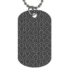 Hexagon1 Black Marble & Gray Denim Dog Tag (one Side) by trendistuff