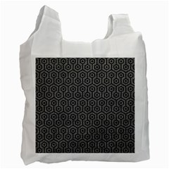 Hexagon1 Black Marble & Gray Denim Recycle Bag (one Side) by trendistuff