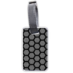 Hexagon2 Black Marble & Gray Denim Luggage Tags (one Side)  by trendistuff