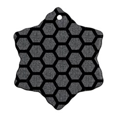 Hexagon2 Black Marble & Gray Denim Snowflake Ornament (two Sides) by trendistuff