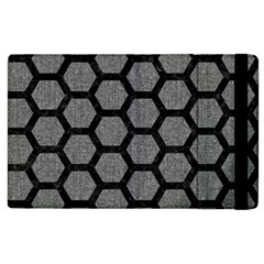 Hexagon2 Black Marble & Gray Denim Apple Ipad 2 Flip Case by trendistuff