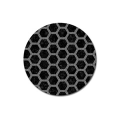 Hexagon2 Black Marble & Gray Denim (r) Magnet 3  (round) by trendistuff