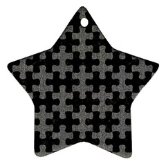 Puzzle1 Black Marble & Gray Denim Star Ornament (two Sides) by trendistuff
