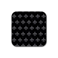 Royal1 Black Marble & Gray Denim Rubber Square Coaster (4 Pack)  by trendistuff