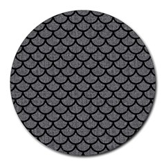 Scales1 Black Marble & Gray Denim Round Mousepads by trendistuff