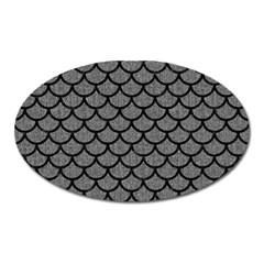 Scales1 Black Marble & Gray Denim Oval Magnet by trendistuff