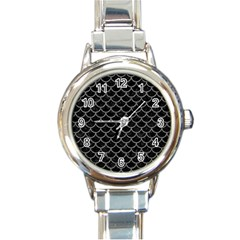 Scales1 Black Marble & Gray Denim (r) Round Italian Charm Watch