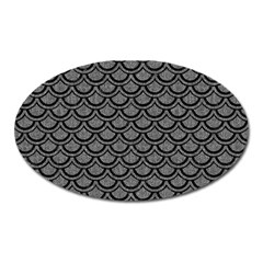 Scales2 Black Marble & Gray Denim Oval Magnet by trendistuff