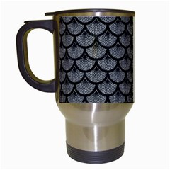 Scales3 Black Marble & Gray Denim Travel Mugs (white) by trendistuff