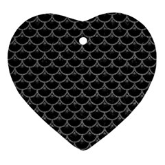 Scales3 Black Marble & Gray Denim (r) Ornament (heart) by trendistuff