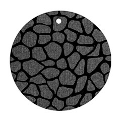 Skin1 Black Marble & Gray Denim (r) Ornament (round) by trendistuff