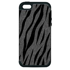 Skin3 Black Marble & Gray Denim Apple Iphone 5 Hardshell Case (pc+silicone) by trendistuff