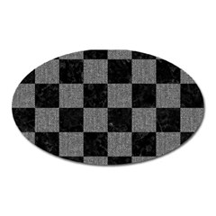 Square1 Black Marble & Gray Denim Oval Magnet by trendistuff