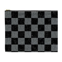 Square1 Black Marble & Gray Denim Cosmetic Bag (xl) by trendistuff