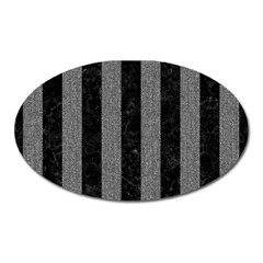 Stripes1 Black Marble & Gray Denim Oval Magnet by trendistuff