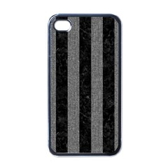 Stripes1 Black Marble & Gray Denim Apple Iphone 4 Case (black) by trendistuff