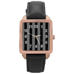 Stripes1 Black Marble & Gray Denim Rose Gold Leather Watch  by trendistuff