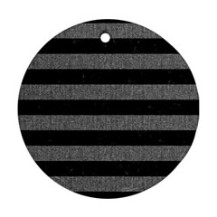 Stripes2 Black Marble & Gray Denim Round Ornament (two Sides) by trendistuff