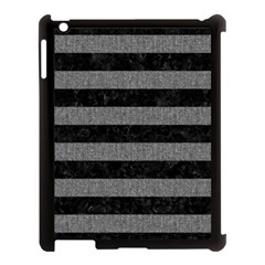 Stripes2 Black Marble & Gray Denim Apple Ipad 3/4 Case (black) by trendistuff