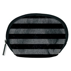 Stripes2 Black Marble & Gray Denim Accessory Pouches (medium)  by trendistuff