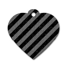 Stripes3 Black Marble & Gray Denim (r) Dog Tag Heart (one Side) by trendistuff