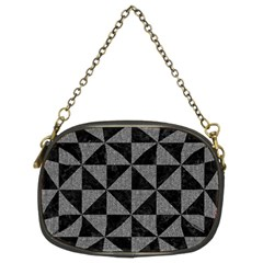 Triangle1 Black Marble & Gray Denim Chain Purses (two Sides)  by trendistuff