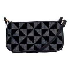 Triangle1 Black Marble & Gray Denim Shoulder Clutch Bags by trendistuff
