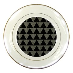 Triangle2 Black Marble & Gray Denim Porcelain Plates by trendistuff