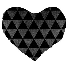 Triangle3 Black Marble & Gray Denim Large 19  Premium Flano Heart Shape Cushions by trendistuff