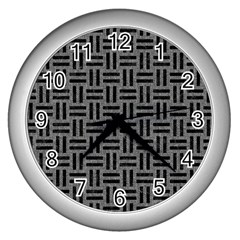 Woven1 Black Marble & Gray Denim Wall Clocks (silver)  by trendistuff