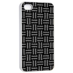 Woven1 Black Marble & Gray Denim (r) Apple Iphone 4/4s Seamless Case (white) by trendistuff