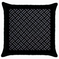 Woven2 Black Marble & Gray Denim (r) Throw Pillow Case (black) by trendistuff