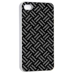 Woven2 Black Marble & Gray Denim (r) Apple Iphone 4/4s Seamless Case (white) by trendistuff