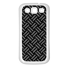 Woven2 Black Marble & Gray Denim (r) Samsung Galaxy S3 Back Case (white) by trendistuff