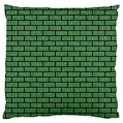 Brick1 Black Marble & Green Denim Large Cushion Case (two Sides)